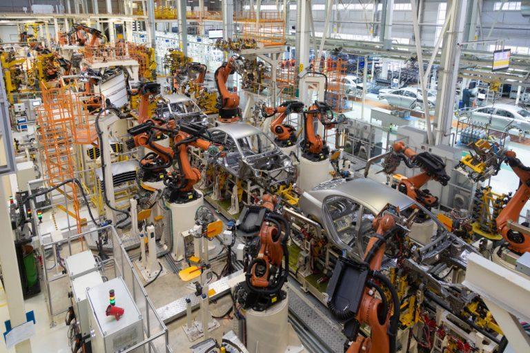 a production factory of robotics